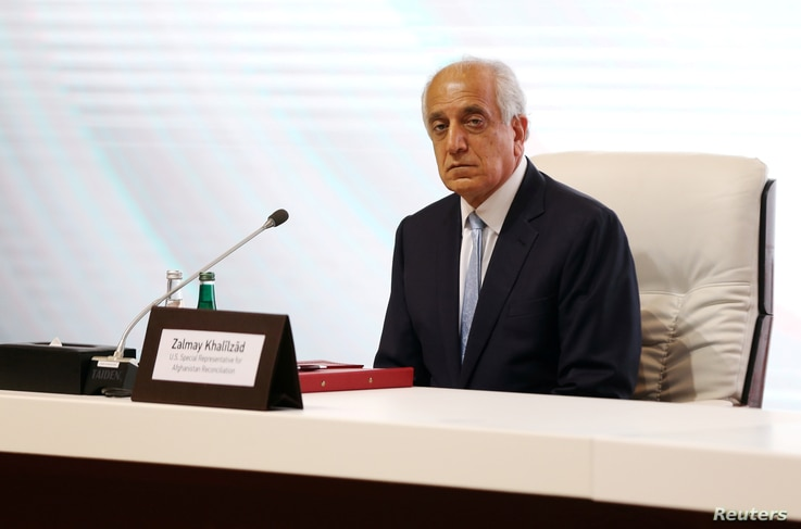 FILE PHOTO: Zalmay Khalilzad, U.S. envoy for peace in Afghanistan is seen during talks between the Afghan government and…