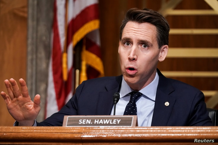 Sen. Josh Hawley (R-MO.) asks questions during a Senate Homeland Security & Governmental Affairs Committee hearing to discuss…