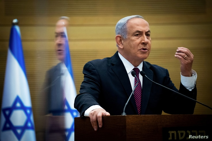 FILE PHOTO: Israeli Prime Minister Benjamin Netanyahu delivers a statement to Likud party MKs at the Knesset (Israel's…