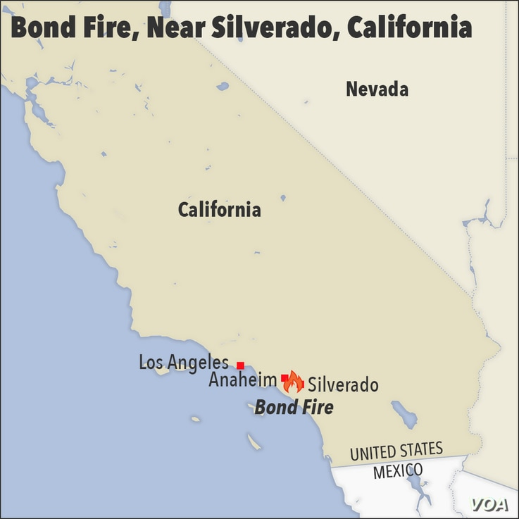 Map of California, showing the location of the Bond fire, near Silverton.