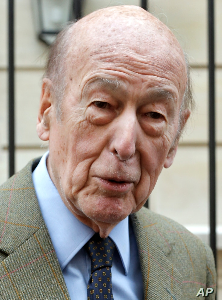 FILE - In this April 8, 2013 file photo, French former President Valery Giscard d'Estaing speaks to the media in Paris. Valery…