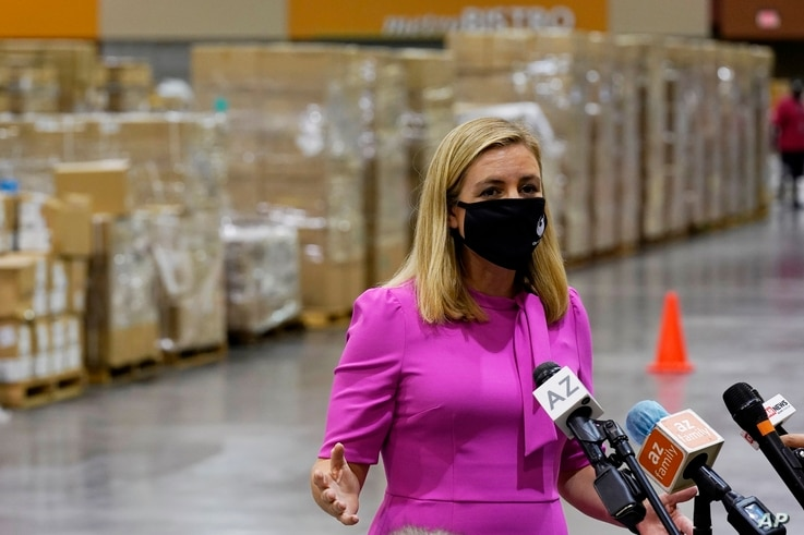 Phoenix Mayor Kate Gallego announces the arrival of more than one million pieces of PPE to help Phoenix schools reopen.