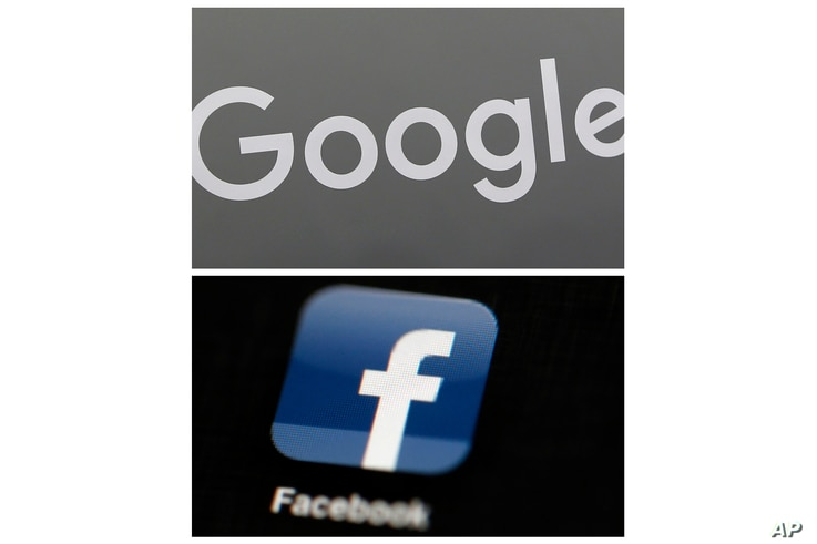 FILE - This combination of file photos shows a Google sign and the Facebook app. Global digital platforms The author of…