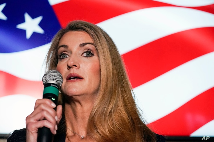 FILE - In this Nov. 13, 2020, file photo Republican candidate for U.S. Senate Sen. Kelly Loeffler speaks at a campaign rally in...