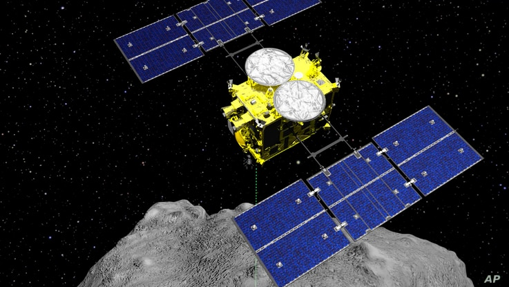 FILE - This computer graphics image released by the Japan Aerospace Exploration Agency (JAXA) shows the Hayabusa2 spacecraft…