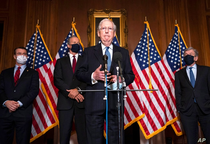 Senate Majority Leader Mitch McConnell of Kentucky, speaks to the media after the Republican's weekly Senate luncheon, Tuesday,…