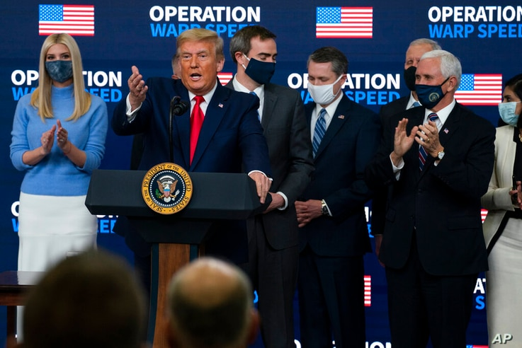 """President Donald Trump speaks during an """"Operation Warp Speed Vaccine Summit"""" on the White House complex, Tuesday, Dec. 8, 2020…"""