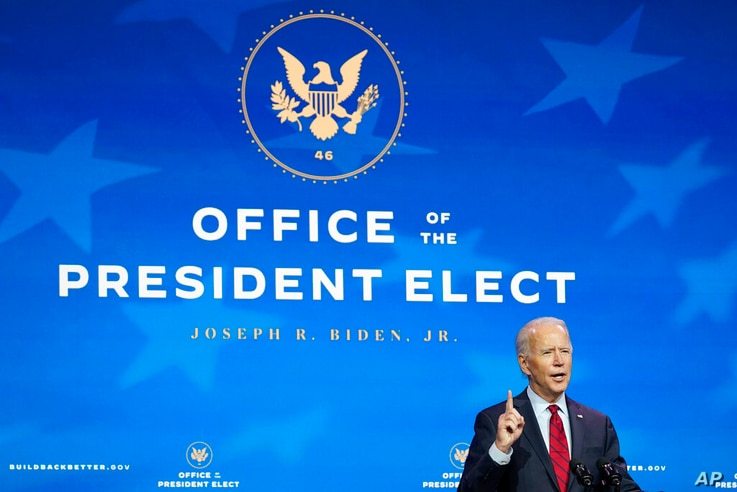 President-elect Joe Biden speaks during an event at The Queen theater in Wilmington, Del., Tuesday, Dec. 8, 2020, to announce…