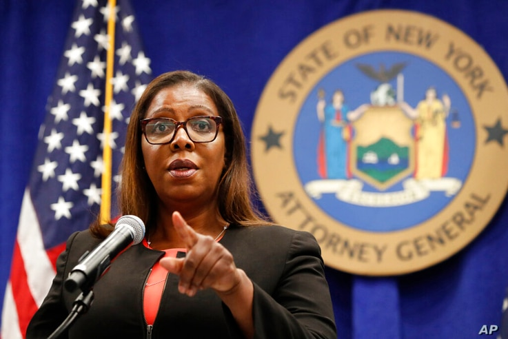 FILE - In this Aug. 6, 2020 photo, New York State Attorney General Letitia James listens to a question at a press conference in New York City.
