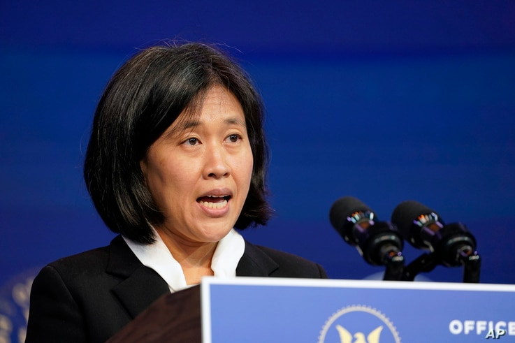 Katherine Tai, the Biden administration's choice totake overas the U.S. trade representative, speaks during an event at The…