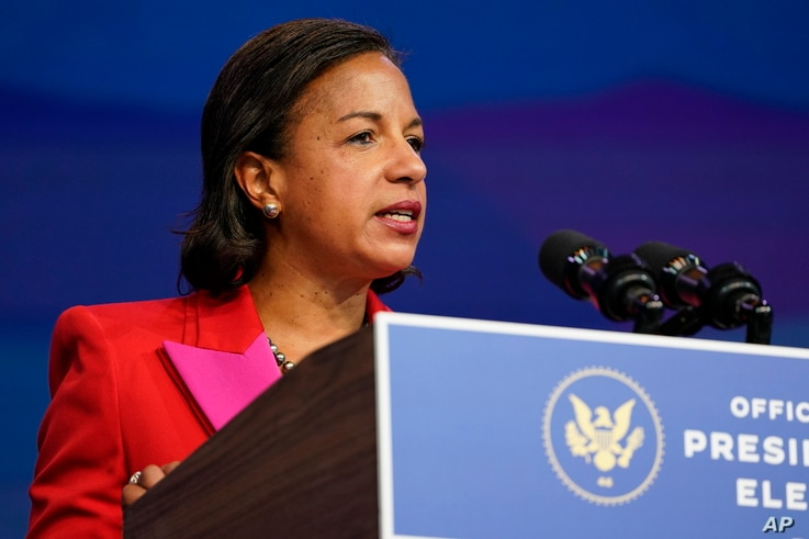 Susan Rice, the Biden administration's choice to lead the White House Domestic Policy Council, speaks during an event at The Queen theater in Wilmington, Del., Friday, Dec. 11, 2020. (AP