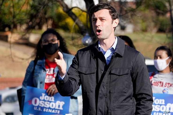 Democratic nominee for U.S. Senate from Georgia Jon Ossoff speaks after voting early in Atlanta on Tuesday, Dec. 22, 2020.
