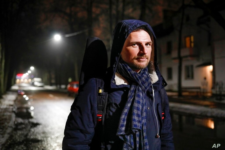 Kastus Lisetsky pose for a photo in a street in Minsk, Belarus, Friday, Dec. 18, 2020. Lisetsky, a 35-year-old musician, who…