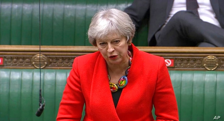 In this screengrab provided by the House of Commons, Britain's Former prime minister Theresa May speaks during the debate in…