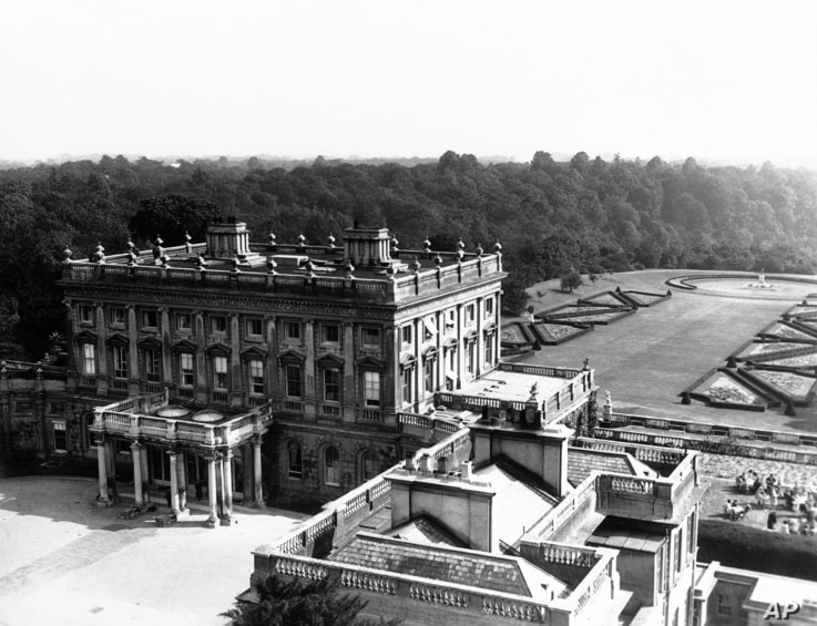 """FILE - """"Cliveden"""" the thames side Mansion of Lord and Lady Astor at Taplow, Bucks, England on July 22, 1938."""