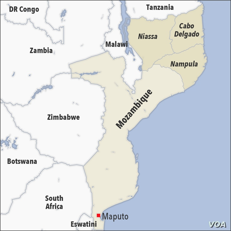 Map of Cabo Delgado, Niassa and Nampula, Mozambique
