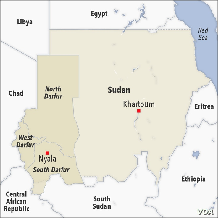 Map of Sudan showing North, South and West Darfur