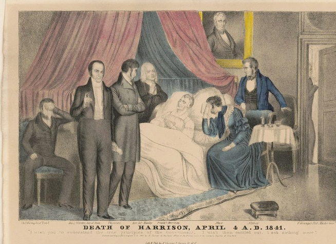 William Henry Harrison on his deathbed with a physician, his niece and nephew by his side, as well as Treasury Secretary Thomas Ewing,  Secretary of State Daniel Webster and Postmaster General Francis Granger (waiting at the door).