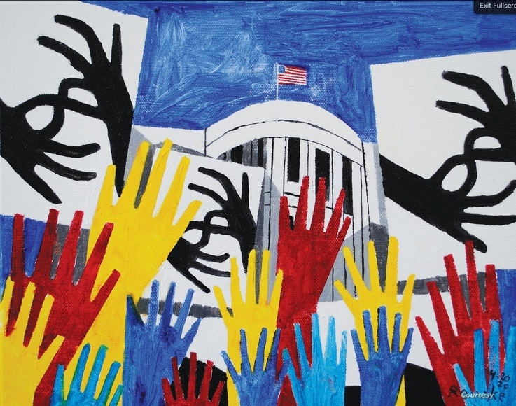 Nancy Rourke painted a piece to express the frustration of the deaf community at the White House for not having ASL interpreters at COVID-19 briefings in the past. (Courtesy photo)