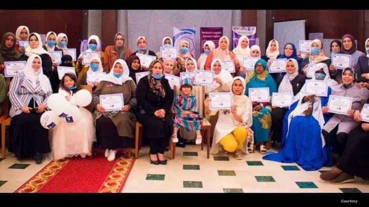 Libya's National Commission for Human Rights holds a meeting with women activists in the city of Derna in eastern Libya, on peacebuilding progress in the city. (Photo credit: Zahia Faraj Ali)