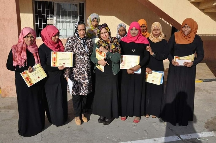 Libya's National Commission for Human Rights meets with a group of displaced women in the city of Tawargha, to raise awareness about the importance of women's participation in the political process. (Photo credit: Zahia Faraj Ali)