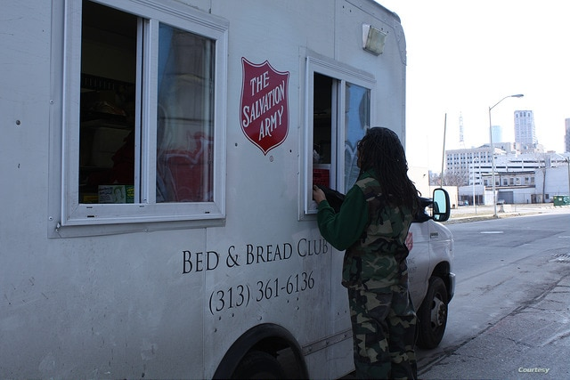 In Detroit, Michigan, Salvation Army trucks drive around low income neighborhoods offering soup, sandwiches and hot meals. (Salvation Army USA)