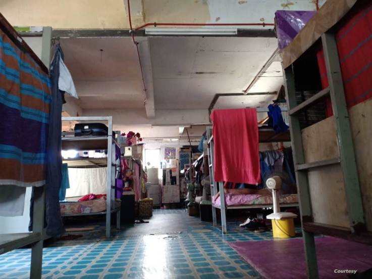A photo provided by labor rights advocate Andy Hall shows a migrant worker dorm room in Malaysia.