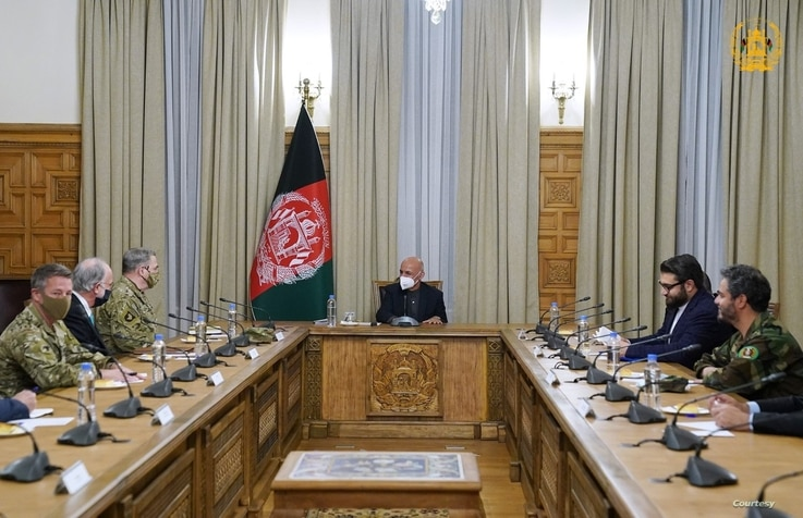 Gen. Mark Milley (left, front of table), chairman of the U.S. Joint Chiefs of Staff, meets with President Ashraf Ghani to discuss peace efforts and the security environment in Afghanistan, Dec 17, 2020. (Courtesy - Afghan Presidential Palace)