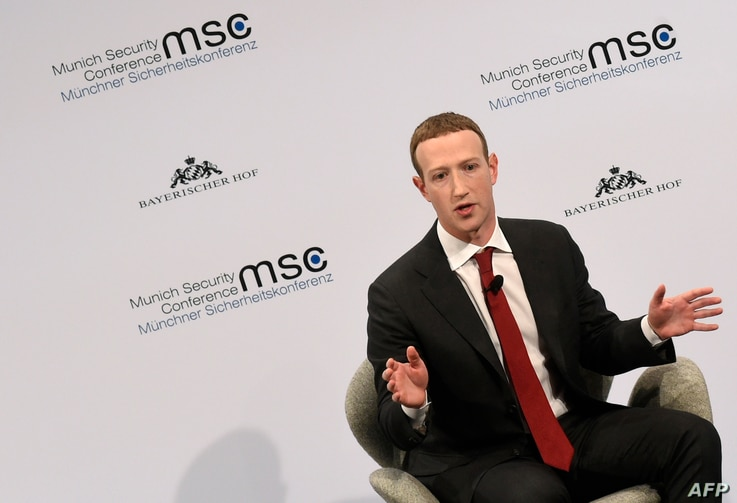 The founder and CEO of Facebook Mark Zuckerberg speaks during the 56th Munich Security Conference (MSC) in Munich, southern…