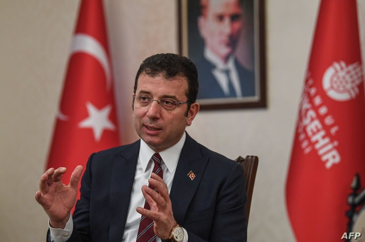 Mayor of Istanbul metropolitan municipality Ekrem Imamoglu speaks during an interview to AFP on April 2, 2020 in Istanbul, amid…
