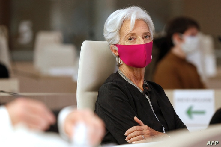 European Central Bank (ECB) President Christine Lagarde, wearing face mask, attends the 16th Congress of Regions (Congres des...