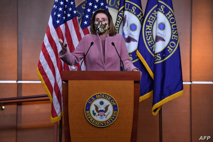 US Speaker of the House, Nancy Pelosi, Democrat of California, speaks during her weekly press briefing on Capitol Hill in…