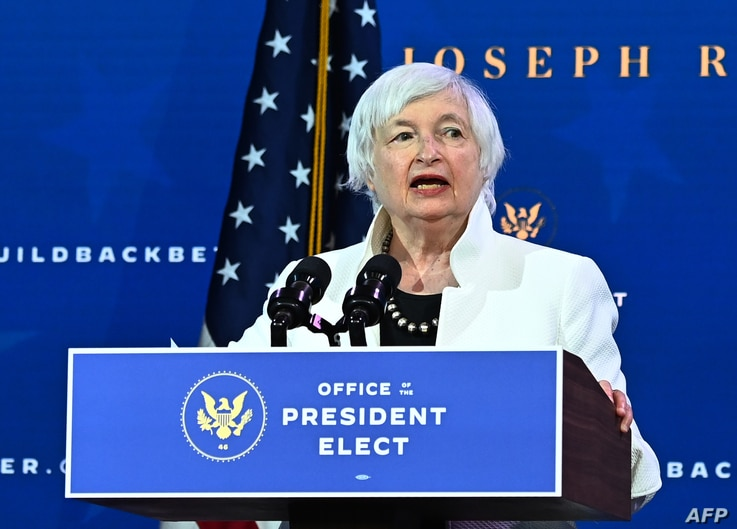 (FILES) In this file photo taken on December 1, 2020 Janet Yellen, nominee for US Treasury Secretary, speaks during a cabinet...