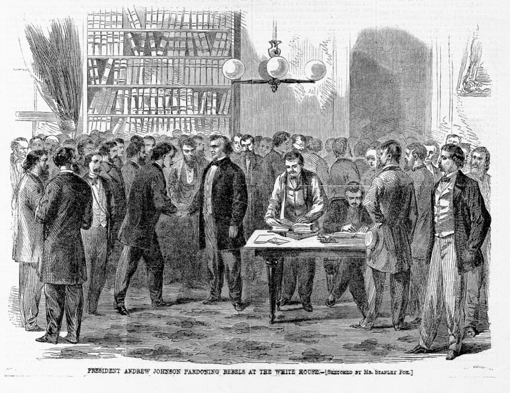 """President Andrew Johnson Pardoning Rebels at the White House"", Harper's Weekly, October 14, 1865"