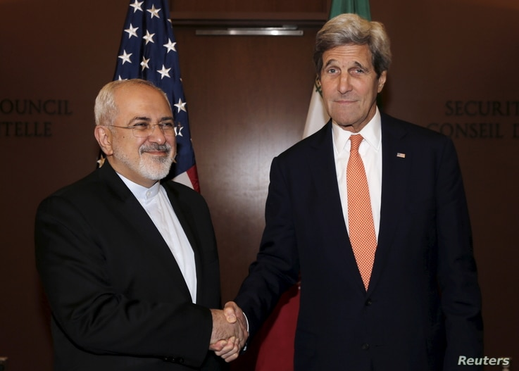 U.S. Secretary of State John Kerry (R) meets with Iran's Foreign Minister Mohammad Javad Zarif at the United Nations.