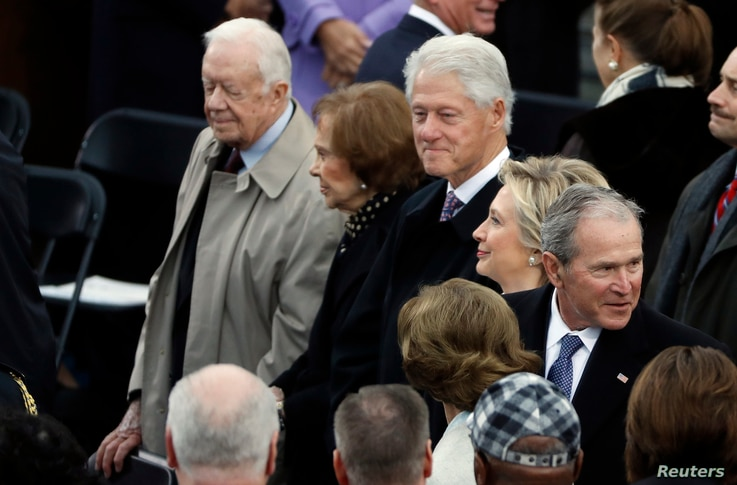 Former presidents and first ladies, Jimmy Carter, Rosalynn Carter, Bill Clinton, Hillary Clinton, George W. Bush and Laura Bush attend the inauguration of Donald Trump as the 45th U.S. president in Washington, Jan. 20, 2017.
