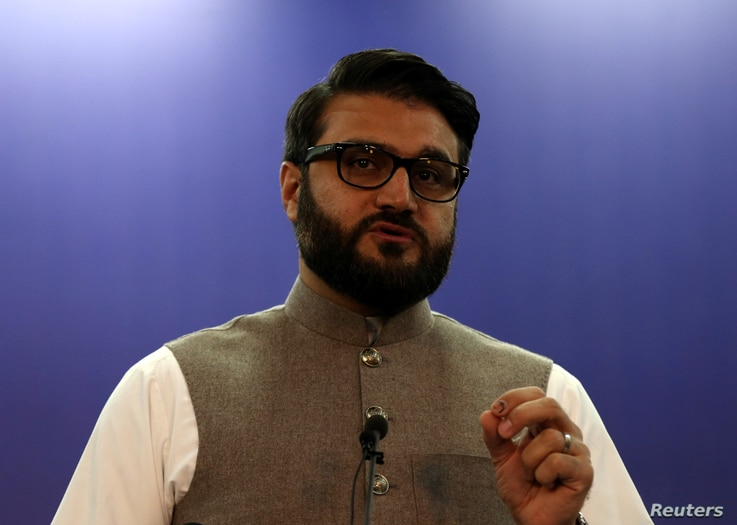 Afghanistan's National Security Advisor Hamdullah Mohib speaks during a news conference in Kabul, Afghanistan October 29, 2019...