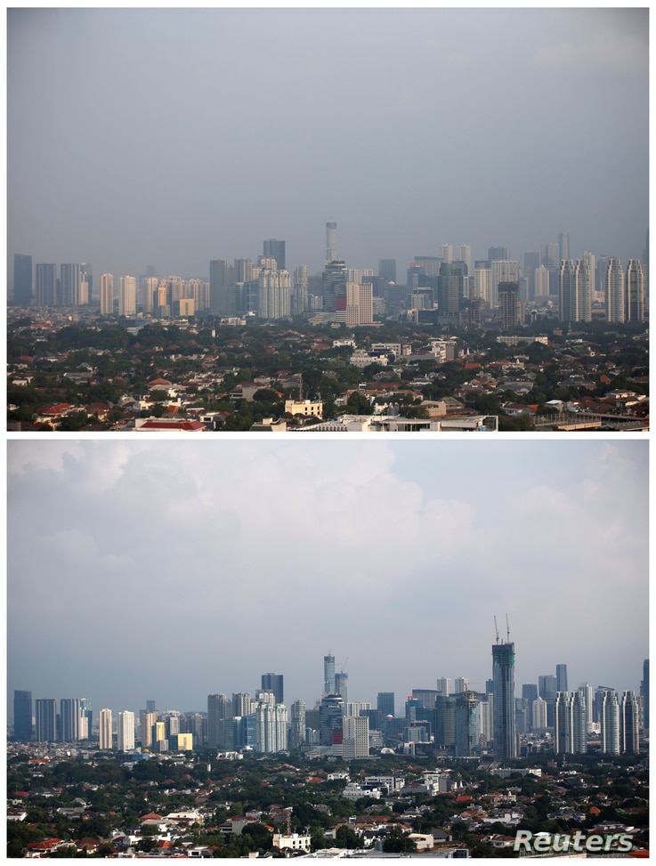 A combination picture shows a general view of high-rise buildings standing amidst smog, July 4, 2019, (top) and the same view…