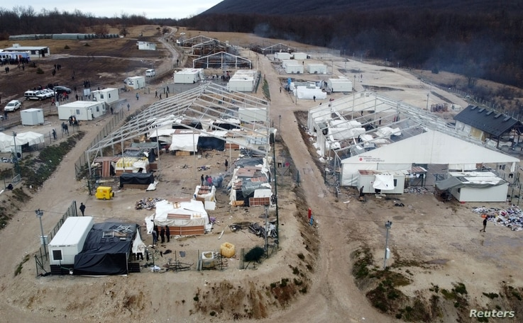 """A general view of the migrant camp """"Lipa"""" in Bihac, Bosnia and Herzegovina January 5, 2021. Picture taken with drone. REUTERS…"""
