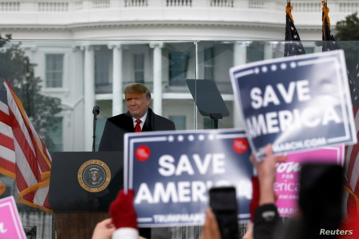 U.S. President Donald Trump holds a rally to contest the certification of the 2020 U.S. presidential election results.