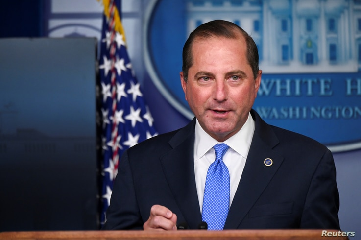 FILE PHOTO: U.S. Health and Human Services (HHS) Secretary Alex Azar speaks during a news conference about the latest...