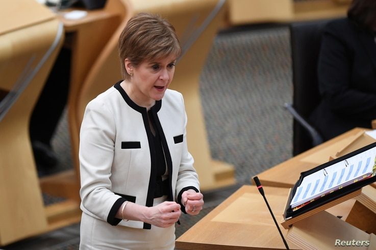 Scotland's First Minister Nicola Sturgeon, attends the First Minister's Questions at the Scottish Parliament in Holyrood,…