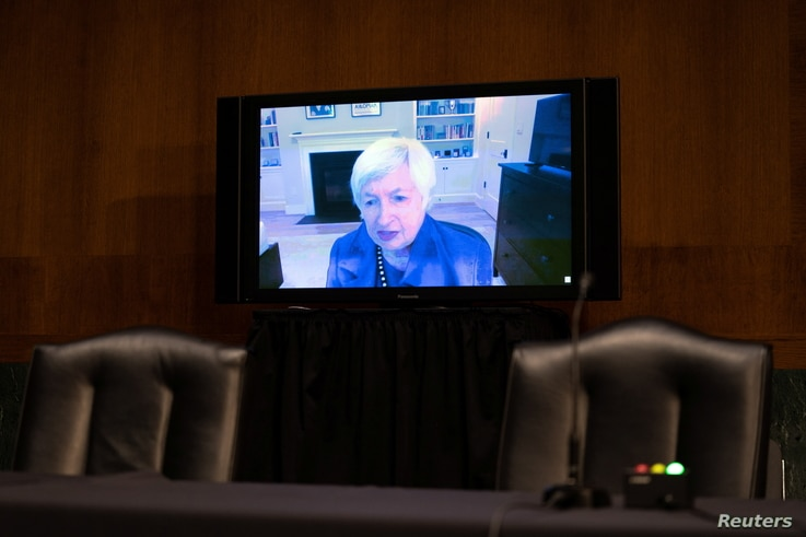 Janet Yellen, President-elect Joe Biden's nominee for Secretary of the Treasury, participates remotely in a Senate Finance...