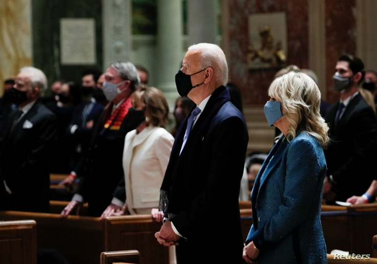 President-elect Joe Biden and his wife Jill Biden attend a church service before his presidential inauguration, at St. Matthews.