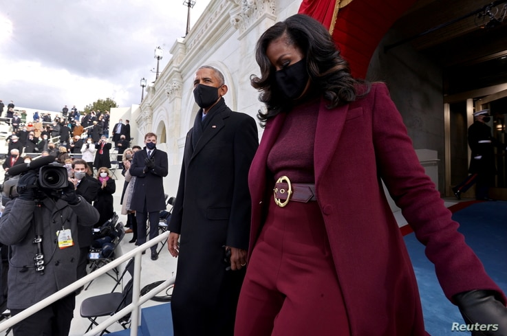 Former U.S. President Barack Obama and wife Michelle Obama arrive before the inauguration of Joe Biden as the 46th President.