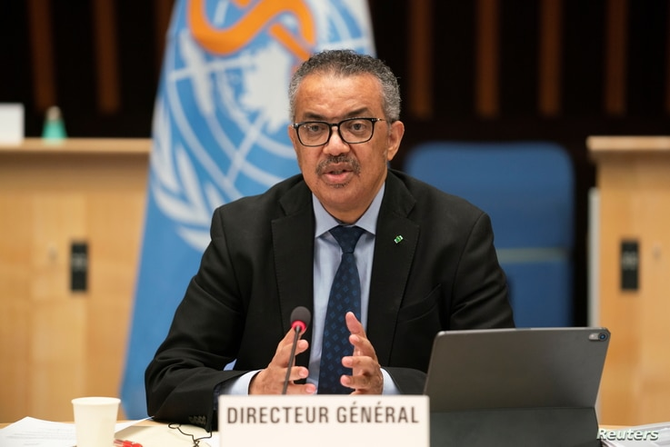 Tedros Adhanom Ghebreyesus, Director General of the World Health Organization (WHO) speaks after Dr. Anthony Fauci, director of...