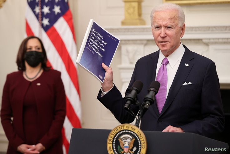 U.S. President Joe Biden speaks about his administration's plans to fight the coronavirus disease (COVID-19) pandemic during a…