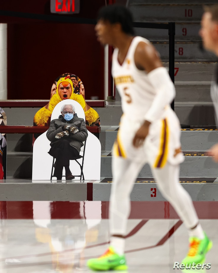 Jan 23, 2021; Minneapolis, Minnesota, USA; A Bernie Sanders cutout sits in the stands during the game against the Minnesota...