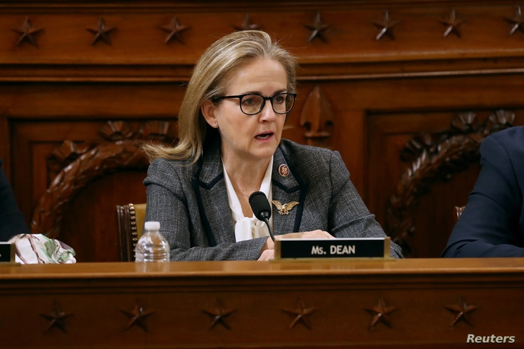 FILE PHOTO: House Judiciary Committee Chairman Rep. Madeleine Dean, D-PA., votes for the second of two articles of impeachment…