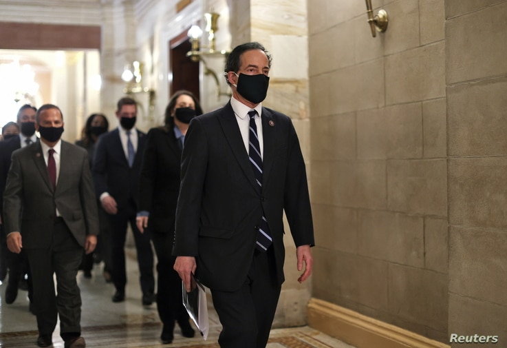 Rep. Jamie Raskin (D-MD) leads fellow House impeachment managers as they walk in the U.S. Capitol